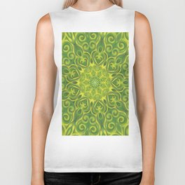 Green and Yellow center Swirl Pattern Biker Tank