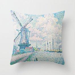 Paul Signac - Canal of Overschie Throw Pillow