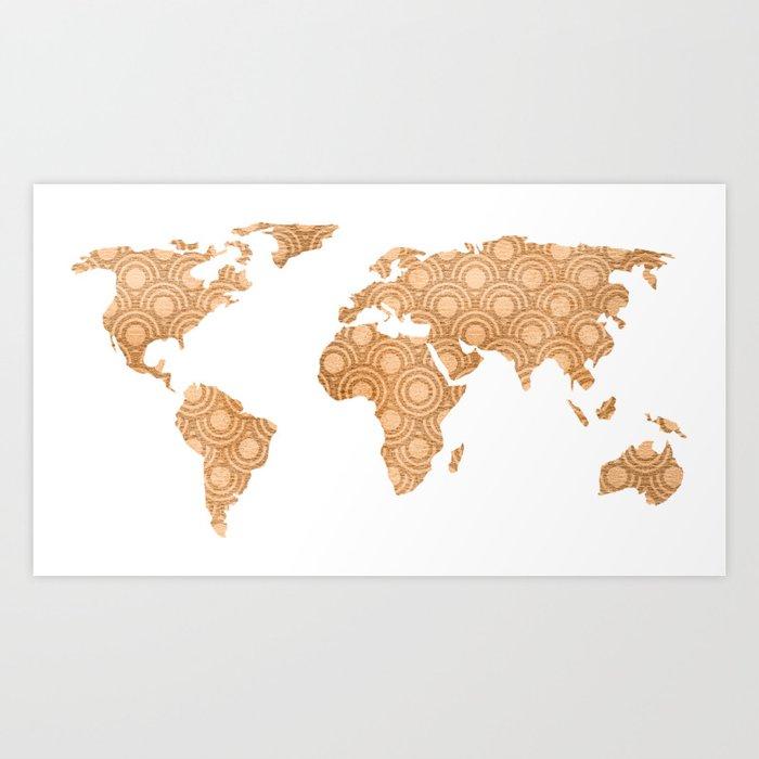 Copper bronze brass foil world map design art print by mapmaker copper bronze brass foil world map design art print gumiabroncs Gallery