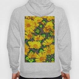 Rich Golden Yellow  Coreopsis Flowers Green Modern Art Hoody