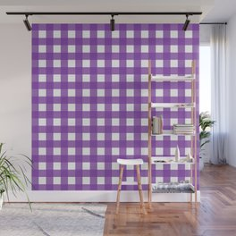 Farmhouse Gingham in Purple Wall Mural
