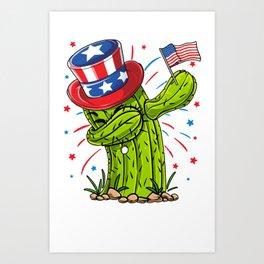 Dabbing Cactus 4th of July Shirt for Men Women Boys Girls Kids Art Print