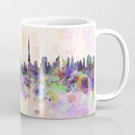 Dubai skyline in watercolor background Coffee Mug