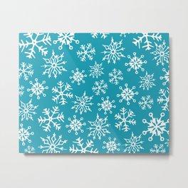 Snowflakes Pattern (Blue) Metal Print