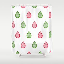 Pink and green raindrops Shower Curtain
