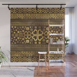 Shamrock Four-leaf Clover Wood and Gold Wall Mural