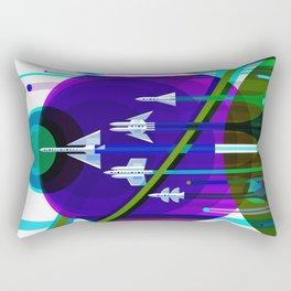 NASA Space Saturn Shuttle Retro Futuristic Explorer Blue Rectangular Pillow