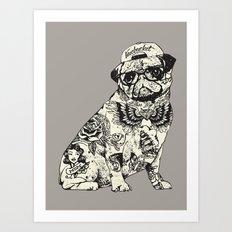 Pug Tattoo Art Print