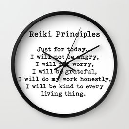 Reiki Principles, Just For Today, Positive, Words Wall Clock