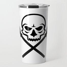 Human Skull Crossed Fishing Spear Mascot Travel Mug