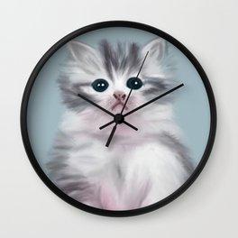 Cute Grey Kitten Wall Clock