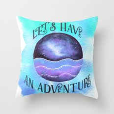 Let's Have an Adventure - Boho Wanderlust Watercolor Throw Pillow
