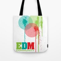 edm Tote Bags featuring Bubbles. EDM (Electronic Dance Music) Community by DropBass