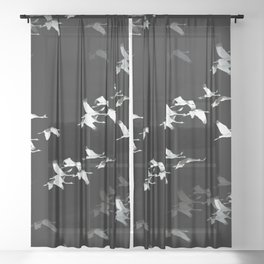 Abstract Black and White Crane Flock #decor #society6 Sheer Curtain