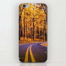 Forest road trip iPhone Skin