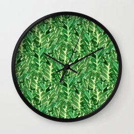 Holly Jolly Leaves (Small Pattern) Wall Clock