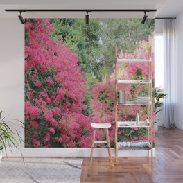 Surrounded by Pink Flowers Wall Mural