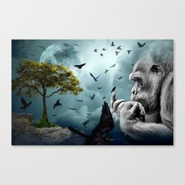 Gorilla discovers crows by GEN Z Canvas Print