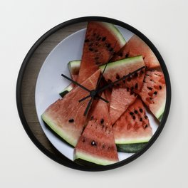 Flat lay of  watermelon on the wooden surface Wall Clock