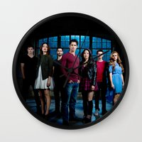 teen wolf Wall Clocks featuring TEEN WOLF by Amélie Store