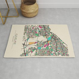 Colorful City Maps: Cleveland, Ohio Rug