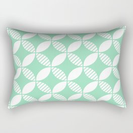 Mid Century Modern Geometric Flower Pattern Mint Green 2 Rectangular Pillow