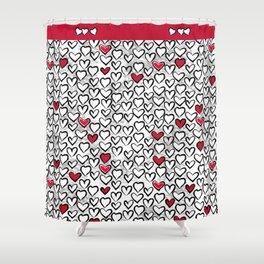 Valentine Graffiti Hand Drawn Random Hearts Shower Curtain
