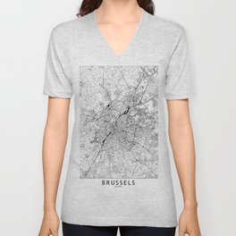 Brussels White Map Unisex V-Neck