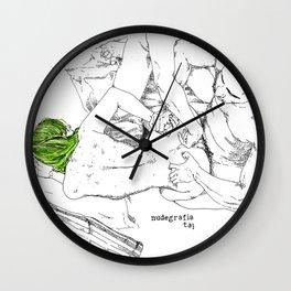 Green hair in ménage à trois Wall Clock