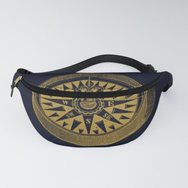 The golden compass I- maritime print with gold ornament Fanny Pack