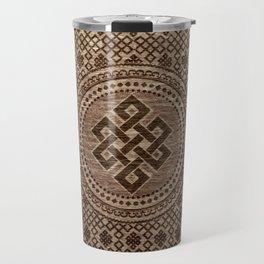 Endless Knot Decorative on Wooden Surface Travel Mug
