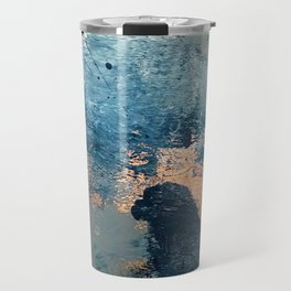 Wander [2]: a vibrant, colorful, abstract in blues, pink, white, and gold Travel Mug