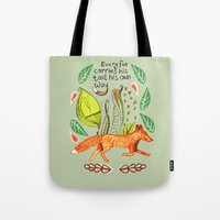 sayings Tote Bags featuring Every Fox...fox, sayings, typography, quote, nature, leaves by Slumbermonkey Designs