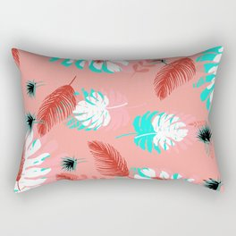 Coral and Teal Tropical Leaves Rectangular Pillow