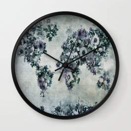 floral world map 2 Wall Clock
