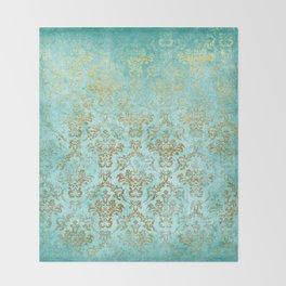 Mermaid Gold Aqua Seafoam Damask Throw Blanket