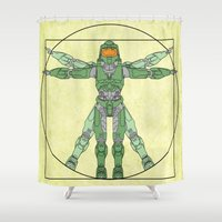 halo Shower Curtains featuring vitruvian Halo by tshirtsz