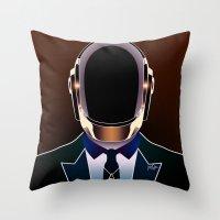 daft punk Throw Pillows featuring Daft Punk by Alli Vanes