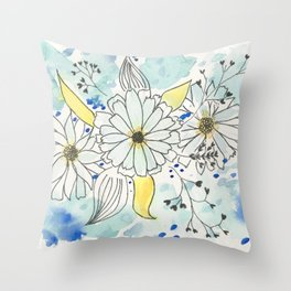 Watercolor & Ink Flowers Throw Pillow