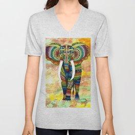 Rainbow Elephant Yellow Background Unisex V-Neck