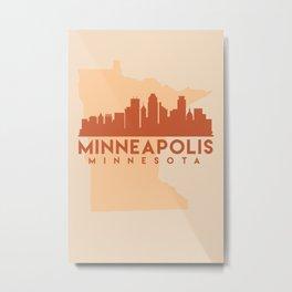 MINNESOTA MINNEAPOLIS CITY MAP SKYLINE EARTH TONES Metal Print