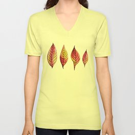 Four Red And Yellow Autumn Leaves Unisex V-Neck