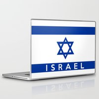 israel Laptop & iPad Skins featuring Israel country flag name text  by tony tudor