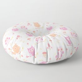 Cute funny pastel pink coral orange owl floral Floor Pillow