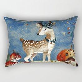 Autumn Woodland Friends Deer Forest Illustration Rectangular Pillow