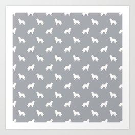 Bernese Mountain Dog pet silhouette dog breed minimal grey and white pattern Art Print