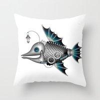 steam punk Throw Pillows featuring steam punk fish by Elena Trupak