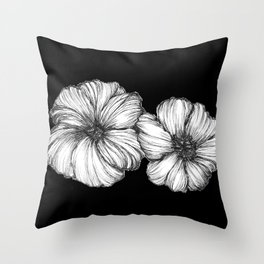 Black Floral Ink II Throw Pillow