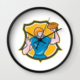 American Football QB Throwing Shield Retro Wall Clock
