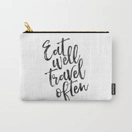 MOTIVATIONAL POSTER,Eat Well Travel Often,Travel Gifts,Inspirational Quote,Kitchen Decor,Quote Print Carry-All Pouch